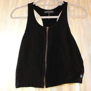 Kendall and Kylie black zip up crop top